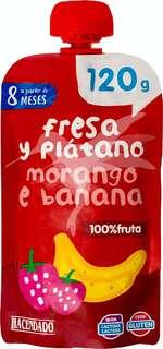 Fruta bolsillo fresa y platano 100% fruta (color rojo) a partir de 12 meses