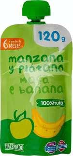 Fruta bolsillo manzana y platano 100% fruta (color verde) a partir de 12 meses