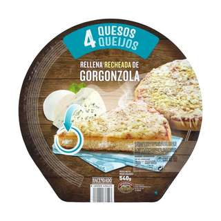 Pizza 4 quesos rellena de queso gorgonzola congelada 540 gr